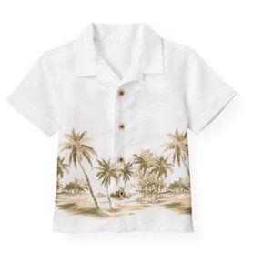 Janie & Jack   Palm Linen Button Down Shirt